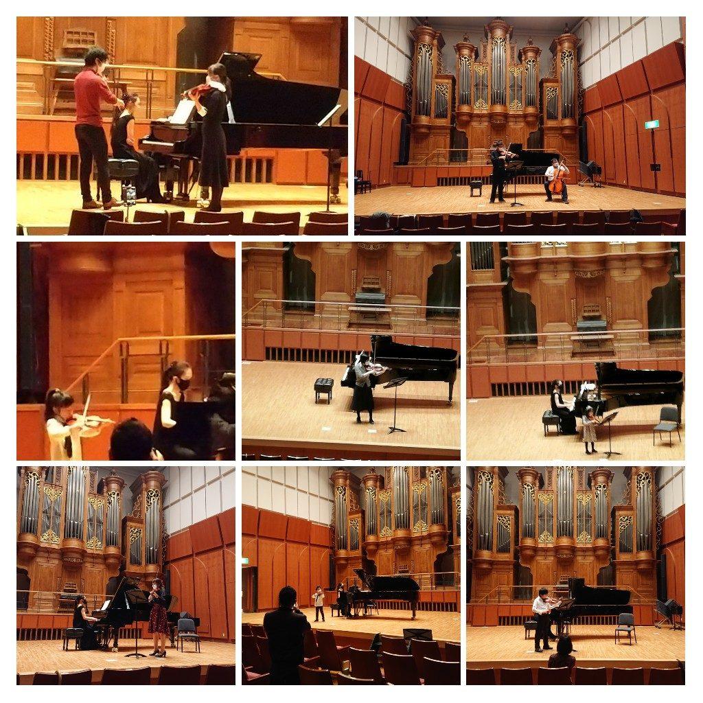 コロナ感染対策をしたバイオリン発表会の当日の写真